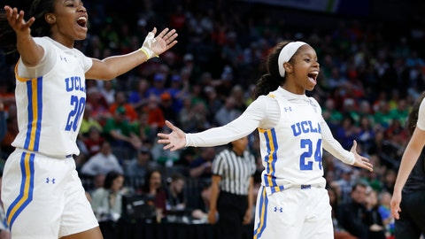 <p>               UCLA's Charisma Osborne, left, and Japreece Dean celebrate after a play against Southern California during the second half of an NCAA college basketball game in the quarterfinal round of the Pac-12 women's tournament Friday, March 6, 2020, in Las Vegas. (AP Photo/John Locher)             </p>