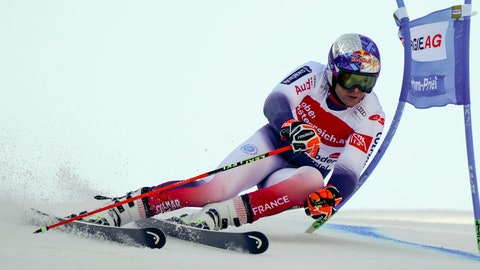 <p>               France's Alexis Pinturault competes in an alpine ski, men's World Cup giant slalom, in Hinterstoder, Austria, Monday, March 2, 2020. (AP Photo/Giovanni Auletta)             </p>