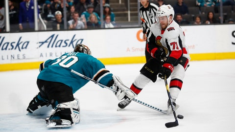 <p>               San Jose Sharks goaltender Aaron Dell (30) makes a save against the Ottawa Senators center Chris Tierney (71) on a penalty shot during the second period of an NHL hockey game in San Jose, Calif., Saturday, March 7, 2020. (AP Photo/Josie Lepe)             </p>