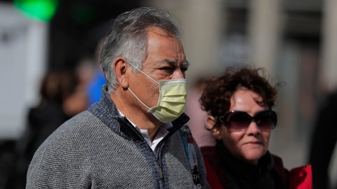 <p>               A man wears a face mask in central Madrid, Spain, Monday, March 9, 2020. Health authorities in the Madrid region say that infections for the new coronavirus have more than doubled in the past 24 hours. (AP Photo/Manu Fernandez)             </p>