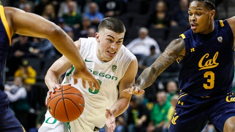 <p>               Oregon guard Payton Pritchard (3) drives to the basket against California guard Paris Austin (3) during the first half of an NCAA college basketball game in Eugene, Ore., Thursday, March 5, 2020. (AP Photo/Thomas Boyd)             </p>