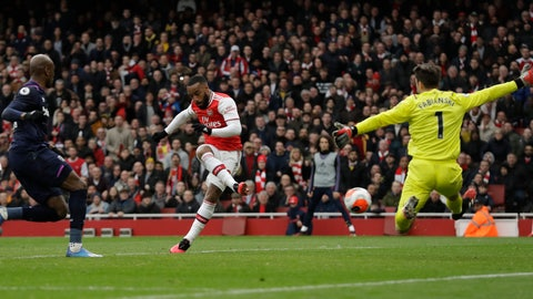 <p>               Arsenal's Alexandre Lacazette scores his side's opening goal past West Ham's goalkeeper Lukasz Fabianski during the Premier League soccer match between Arsenal and West Ham at the Emirates Stadium in London, Saturday, March 7, 2020.(AP Photo/Matt Dunham)             </p>