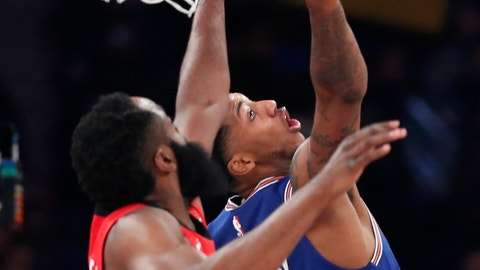 <p>               Houston Rockets guard James Harden, left, pressures New York Knicks guard Elfrid Payton (6) during the first quarter of an NBA basketball game in New York, Monday, March 2, 2020. (AP Photo/Kathy Willens)             </p>