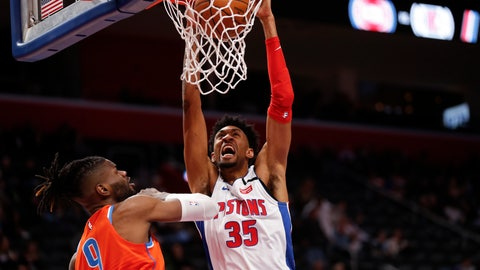 <p>               Detroit Pistons forward Christian Wood (35) dunks on Oklahoma City Thunder center Nerlens Noel (9) during the first half of an NBA basketball game in Detroit, Wednesday, March 4, 2020. (AP Photo/Paul Sancya)             </p>