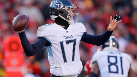 <p>               Tennessee Titans' Ryan Tannehill throws during the first half of the NFL AFC Championship football game against the Kansas City Chiefs Sunday, Jan. 19, 2020, in Kansas City, MO. (AP Photo/Jeff Roberson)             </p>