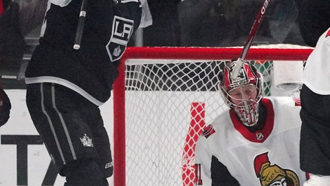 <p>               Los Angeles Kings center Trevor Lewis, left, celebrates his goal as Ottawa Senators goaltender Craig Anderson kneels at right during the first period of an NHL hockey game Wednesday, March 11, 2020, in Los Angeles. (AP Photo/Mark J. Terrill)             </p>