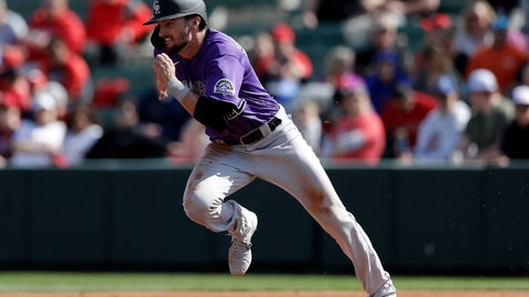 <p>               Colorado Rockies' Sam Hilliard advances to second on a wild pitch during the second inning of a spring training baseball game against the Los Angeles Angels, Sunday, Feb. 23, 2020, in Tempe, Ariz. (AP Photo/Gregory Bull)             </p>