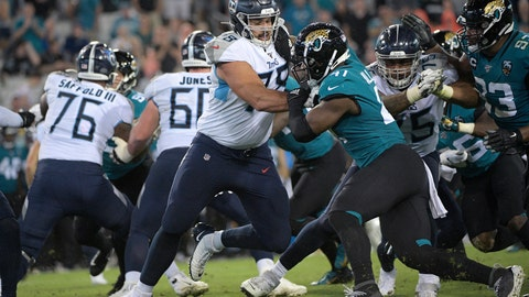 <p>               FILE - In this Sept. 19, 2019, file photo, Tennessee Titans offensive tackle Jack Conklin (78) blocks Jacksonville Jaguars defensive end Josh Allen (41) during the first half of an NFL football game in Jacksonville, Fla. Free agent Conklin has agreed to a three-year, $42 million contract with the Cleveland Browns, his agent Drew Rosenhaus told The Associated Press. (AP Photo/Phelan M. Ebenhack, File)             </p>