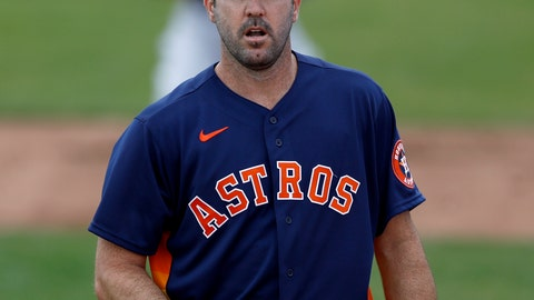 <p>               Houston Astros pitcher Justin Verlander warms up prior to a spring training baseball game against the St. Louis Cardinals, Tuesday, March 3, 2020, in Jupiter, Fla. (AP Photo/Julio Cortez)             </p>