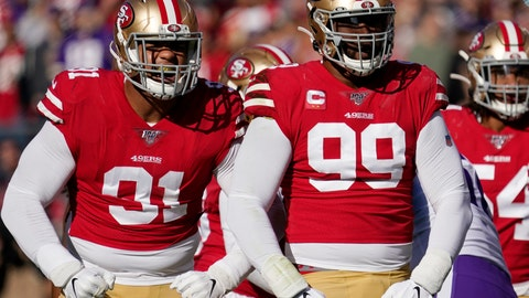 <p>               FILE - In this Jan. 11, 2020, file photo, San Francisco 49ers defensive end Arik Armstead, left, and defensive tackle DeForest Buckner (99) react to a play against the Minnesota Vikings during the first half of an NFL divisional playoff football game in Santa Clara, Calif. The defending NFC champion 49ers signed Armstead to a five-year contract worth up to $85 million on Monday, March 16, 2020, to keep him off the open market and then immediately agreed to a deal to send Buckner to Indianapolis. (AP Photo/Tony Avelar, File)             </p>