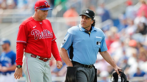 <p>               FILE - In this March 8, 2020, file photo, Philadelphia Phillies' pitching coach Bryan Price walks with umpire Phil Cuzzi during a spring training baseball game, Sunday,, in Dunedin, Fla. Price could end up being the most valuable addition the Phillies made in the offseason if he can get some talented members of the staff to reach their potential.(AP Photo/Carlos Osorio, File)             </p>
