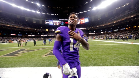 <p>               Minnesota Vikings wide receiver Stefon Diggs (14) reacts overtime of an NFL wild-card playoff football game against the New Orleans Saints, Sunday, Jan. 5, 2020, in New Orleans. The Vikings won 26-20. (AP Photo/Brett Duke)             </p>