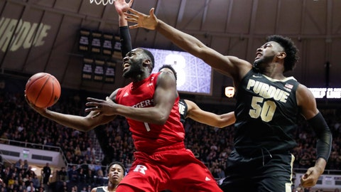 <p>               Rutgers forward Akwasi Yeboah (1) shoots in front of Purdue forward Trevion Williams (50) during the first half of an NCAA college basketball game in West Lafayette, Ind., Saturday, March 7, 2020. (AP Photo/Michael Conroy)             </p>