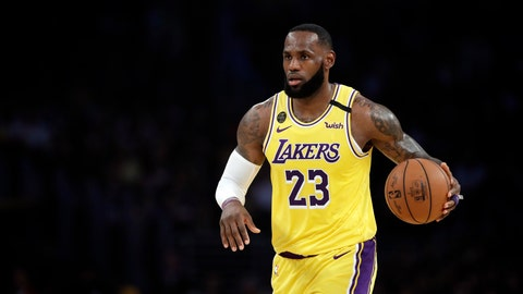 <p>               Los Angeles Lakers' LeBron James (23) dribbles during the first half of an NBA basketball game against the Brooklyn Nets Tuesday, March 10, 2020, in Los Angeles. (AP Photo/Marcio Jose Sanchez)             </p>