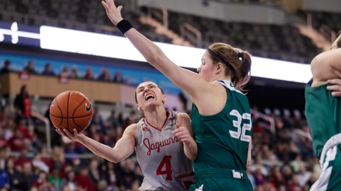 <p>               IUPUI guard Holly Hoopingarner (4) shoots under Green Bay forward Karly Murphy (32) in the first half of an NCAA college basketball game for the Horizon League women's tournament championship in Indianapolis, Tuesday, March 10, 2020. (AP Photo/Michael Conroy)             </p>