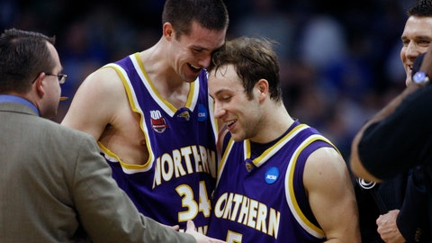<p>               FILE - In this March 18, 2010, file photo, Northern Iowa forward Adam Kock (34) congratulates teammate Ali Farokhmanesh after an NCAA first-round college basketball game against UNLV, in Oklahoma City. This is the time of year that people will usually start tweeting at Ali Farokhmanesh. There will be Northern Iowa fans that remember his back-to-back buzzer-beaters to beat UNLV and Kansas and usher the Panthers to the Sweet 16 of the NCAA Tournament a decade ago.  (AP Photo/Sue Ogrocki, File)             </p>