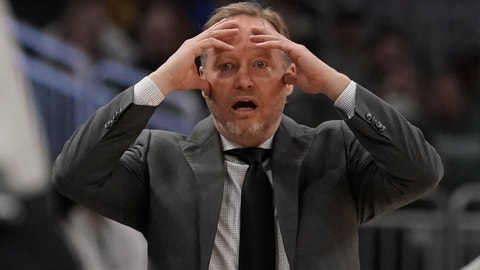 <p>               Milwaukee Bucks head coach Mike Budenholzer reacts to a call during the first half of an NBA basketball game against the Indiana Pacers Wednesday, March 4, 2020, in Milwaukee. (AP Photo/Morry Gash)             </p>