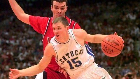<p>               FILE - In this March 30, 1998, file photo, Kentucky's Jeff Sheppard (15) drives against Utah's Drew Hansen at the NCAA men's Final Four championship game in San Antonio. Kentucky defeated Utah 78-69. Sheppard works as a financial planner now and is over two decades removed from the time he helped Kentucky win the NCAA Tournament. Yet he still gets asked regularly about his role in the Wildcats' 1998 national championship. (AP Photo/Susan Ragan, File)             </p>
