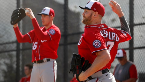 <p>               Washington Nationals pitchers Stephen Strasburg, right, and Patrick Corbin throw bullpen sessions during spring training baseball practice Friday, Feb. 14, 2020, in West Palm Beach, Fla. (AP Photo/Jeff Roberson)             </p>