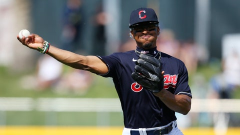 <p>               Cleveland Indians shortstop Francisco Lindor throws to first base to get Los Angeles Dodgers' Terrance Gore out during the second inning of a spring training baseball game Thursday, Feb. 27, 2020, in Goodyear, Ariz. The Dodgers won 6-5. (AP Photo/Ross D. Franklin)             </p>