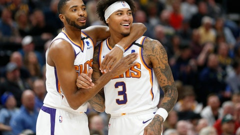 <p>               Phoenix Suns forward Mikal Bridges, left, and forward Kelly Oubre Jr. (3) react to a foul called on Oubre in the first half during an NBA basketball game against the Utah Jazz, Monday, Feb. 24, 2020, in Salt Lake City. (AP Photo/Rick Bowmer)             </p>