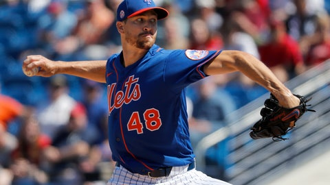 <p>               New York Mets pitcher Jacob deGrom throws during the first inning of a spring training baseball game against the Washington Nationals Sunday, March 1, 2020, in Port St. Lucie, Fla. (AP Photo/Jeff Roberson)             </p>