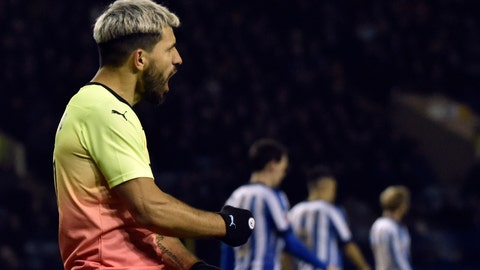 <p>               Manchester City's Sergio Aguero celebrates after scoring his side's opening goal during the FA Cup fifth round soccer match between Sheffield Wednesday and Manchester City at Hillsborough in Sheffield, England, Wednesday, March 4, 2020. (AP Photo/Rui Vieira)             </p>