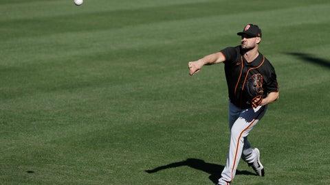 <p>               San Francisco Giants' Tyler Beede throws during spring training baseball practice, Friday, Feb. 14, 2020, in Scottsdale, Ariz. (AP Photo/Darron Cummings)             </p>