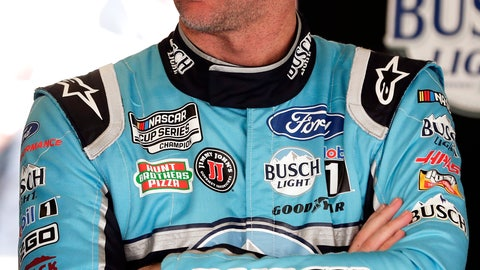 <p>               Kevin Harvick talks with crew members in his garage after a practice session for the NASCAR Daytona 500 auto race at Daytona International Speedway, Saturday, Feb. 15, 2020, in Daytona Beach, Fla. (AP Photo/John Raoux)             </p>