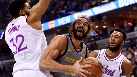 <p>               FILE - In this March 23, 2019, file photo, then-Memphis Grizzlies center Joakim Noah, center, looks to shoot between Minnesota Timberwolves center Karl-Anthony Towns (32) and guard Josh Okogie, right, in the first half of an NBA basketball game in Memphis, Tenn. The Clippers signed free-agent center Joakim Noah, giving them an aggressive, physical presence with playoff experience. (AP Photo/Brandon Dill, File)             </p>
