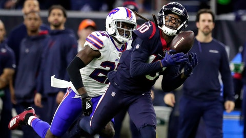<p>               Houston Texans wide receiver DeAndre Hopkins (10) catches a pass for a first down as Buffalo Bills cornerback Tre'Davious White (27) defends during the second half of an NFL wild-card playoff football game Saturday, Jan. 4, 2020, in Houston. (AP Photo/Michael Wyke)             </p>