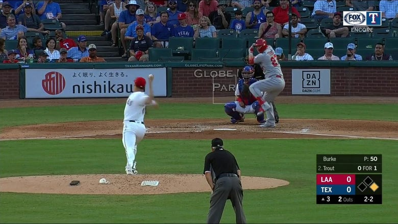 WATCH: Brock Burke strikes out Mike Trout   Rangers ENCORE
