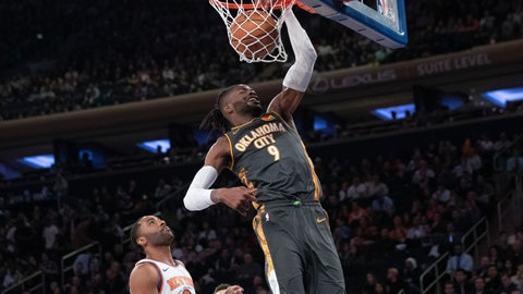 <p>               Oklahoma City Thunder center Nerlens Noel (9) dunks past New York Knicks guard Wayne Ellington (2) during the first half of an NBA basketball game Friday, March 6, 2020, at Madison Square Garden in New York. (AP Photo/Mary Altaffer)             </p>