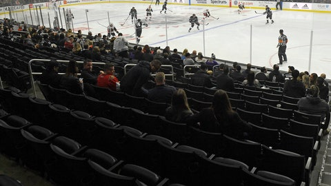 <p>               Empty seats are seen at the start of an NHL hockey game between the Los Angeles Kings and the Ottawa Senators on Wednesday, March 11, 2020, in Los Angeles. (AP Photo/Mark J. Terrill)             </p>