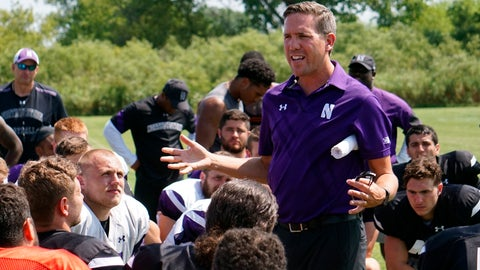 <p>               In this image provided by Northwestern University Athletics, Northwestern senior associate athletic director for health, safety and performance Tory Lindley addresses the Wildcats' football team after NCAA college football practice in Kenosha, Wis. Lindley is the president of the National Athletic Trainers Association, which has put together an app to help athletic trainers assist understaffed hospitals and health care systems during the COVID-19 pandemic. (Northwestern University Athletics via AP)             </p>