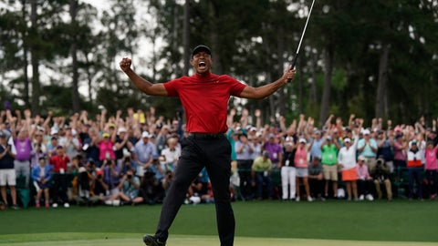 <p>               FILE - In this April 14, 2019, file photo, Tiger Woods reacts as he wins the Masters golf tournament in Augusta, Ga. Augusta National decided Friday, March 13, 2020, to postpone the Masters because of the spread of the coronavirus. Club chairman Fred Ridley says he hopes postponing the event puts Augusta National in the best position to host the Masters and its other two events at some later date. Ridley did not say when it would be held. (AP Photo/David J. Phillip, File)             </p>