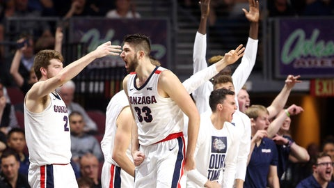 <p>               Gonzaga's Killian Tillie (33) celebrates after sinking a three-point basket against San Francisco during the second half of an NCAA college basketball game in the West Coast Conference men's tournament Monday, March 9, 2020, in Las Vegas. (AP Photo/Isaac Brekken)             </p>
