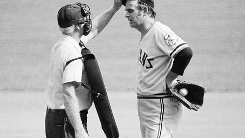 <p>               FILE - In this Sept. 3, 1973, file photo, home plate umpire John Flaherty checks Cleveland Indians pitcher Gaylord Perry's cap for an illegal substance, at the request of Milwaukee Brewers manager Del Crandall, during the first baseball game of a doubleheader in Milwaukee. Major league pitchers have been tinkering with the ball for years in search of an advantage, occasionally breaking major league rules in the process. But they might have to work a little harder on their deception this summer. (AP Photo/File)             </p>