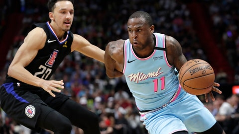 <p>               Miami Heat guard Dion Waiters (11) drives to the basket as Los Angeles Clippers guard Landry Shamet (20) defends during the second half of an NBA basketball game, Friday, Jan. 24, 2020, in Miami. (AP Photo/Lynne Sladky)             </p>