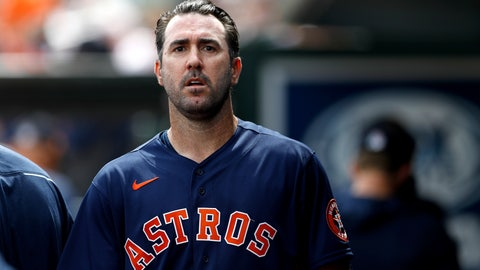 <p>               Houston Astros pitcher Justin Verlander walks in the dugout after pitching to the St. Louis Cardinals in the first inning of a spring training baseball game, Tuesday, March 3, 2020, in Jupiter, Fla. (AP Photo/Julio Cortez)             </p>