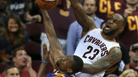 <p>               FILE - In this June 10, 2016, file photo, Cleveland Cavaliers forward LeBron James (23) dunks on Golden State Warriors forward Harrison Barnes (40) during the second half of Game 4 of basketball's NBA Finals in Cleveland. ESPN will air NBA doubleheaders on Wednesday nights during April showcasing key NBA Finals games. (AP Photo/Ron Schwane, File)             </p>