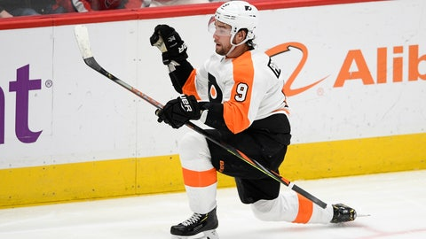 <p>               Philadelphia Flyers defenseman Ivan Provorov (9), of Russia, celebrates his goal during the third period of the team's NHL hockey game against the Washington Capitals, Wednesday, March 4, 2020, in Washington. The Flyers won 5-2. (AP Photo/Nick Wass)             </p>