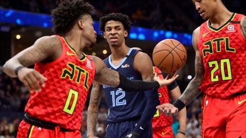 <p>               Memphis Grizzlies guard Ja Morant (12) reacts between Atlanta Hawks guard Brandon Goodwin (0) and forward John Collins (20) after scoring in the second half of an NBA basketball game Saturday, March 7, 2020, in Memphis, Tenn. (AP Photo/Brandon Dill)             </p>