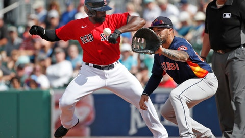 <p>               Boston Red Sox's Jackie Bradley Jr. gets back to first safely on a pickoff attempt to Houston Astros first baseman Nick Tanielu during a spring training baseball game, Thursday, March 5, 2020, in Fort Myers, Fla. (AP Photo/Elise Amendola)             </p>