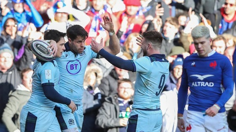 <p>               Scotland's Sean Maitland, second left, celebrates with teammates after scoring a try during the Six Nations rugby union international match between Scotland and France at the Murrayfield stadium in Edinburgh, Scotland, Sunday, March 8, 2020. (AP Photo/Scott Heppell)             </p>