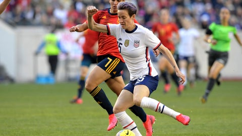 <p>               United States forward Megan Rapinoe (15) controls the ball as she is pursued by Spain defender Marta Corredera (7) during the first half of a SheBelieves Cup soccer match Sunday, March 8, 2020, in Harrison, N.J. (AP Photo/Bill Kostroun)             </p>