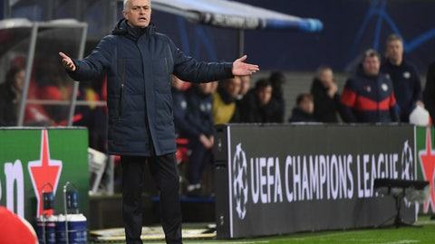 <p>               Tottenham coach Jose Mourinho gestures on the touchline during the Champions League round of 16, 2nd leg soccer match between RB Leipzig and Tottenham Hotspur in Leipzig, Germany, Tuesday, March 10, 2020. (Hendrik Schmidt/dpa via AP)             </p>