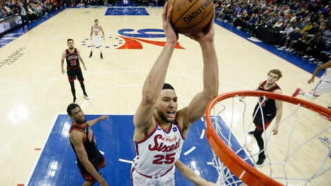 <p>               Philadelphia 76ers' Ben Simmons goes up for a dunk during the first half of an NBA basketball game against the Chicago Bulls, Friday, Jan. 17, 2020, in Philadelphia. (AP Photo/Matt Slocum)             </p>