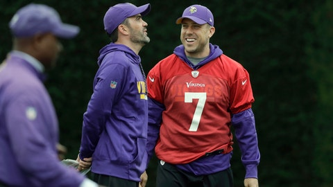 <p>               FILE - In this Oct. 26, 2017, file photo, Minnesota Vikings quarterback Case Keenum talks to quarterbacks coach Kevin Stefanski during an NFL walkthrough practice session at Syon House in Syon Park, south west London. Keenum's NFL  journey is reuniting him with a coach who brought out the best in the quarterback. Keenum officially signed his three-year, $18 million contract Tuesday, March 24, 2020, with the Cleveland Browns, who are bringing him in to help Baker Mayfield and give new coach Kevin Stefanski a security blanket in case things don't go as planned. (AP Photo/Matt Dunham, File)             </p>