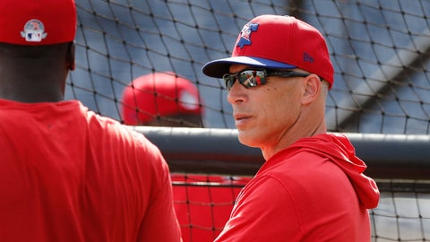 <p>               Philadelphia Phillies manager Joe Girardi talks to shortstop Didi Gregorius during pregame of a spring training baseball game, Wednesday, March 4, 2020, in Clearwater, Fla. (AP Photo/Carlos Osorio)             </p>
